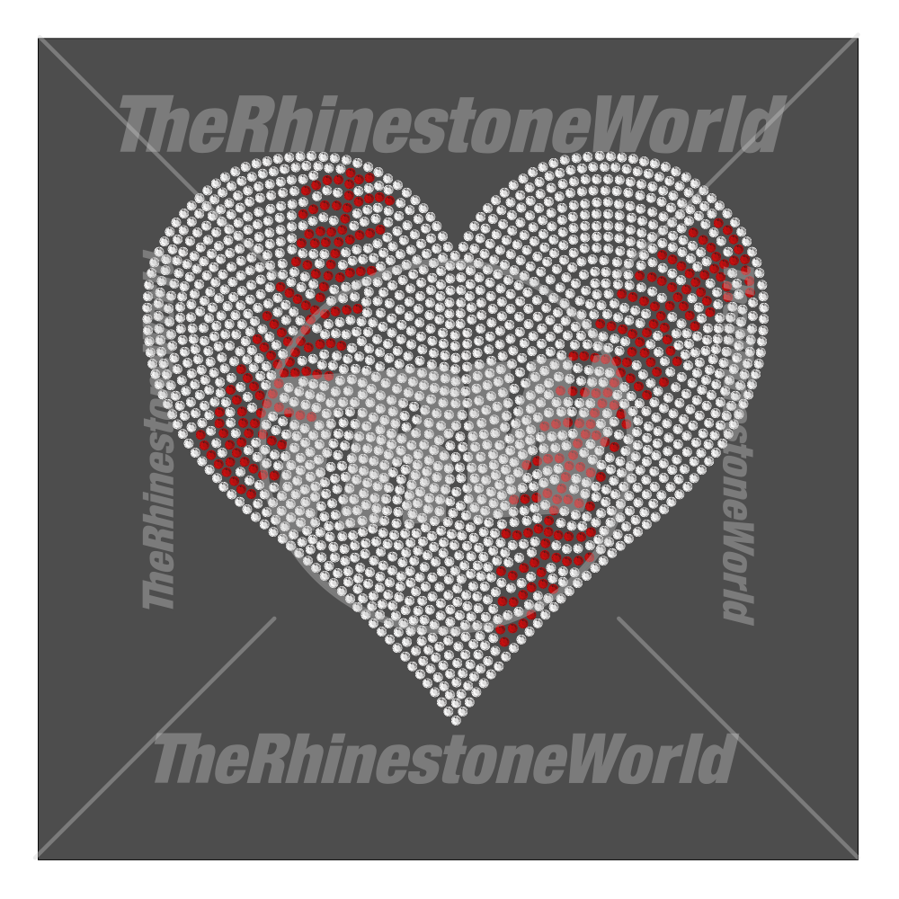 Baseball Softball Heart 2 Rhinestone Design