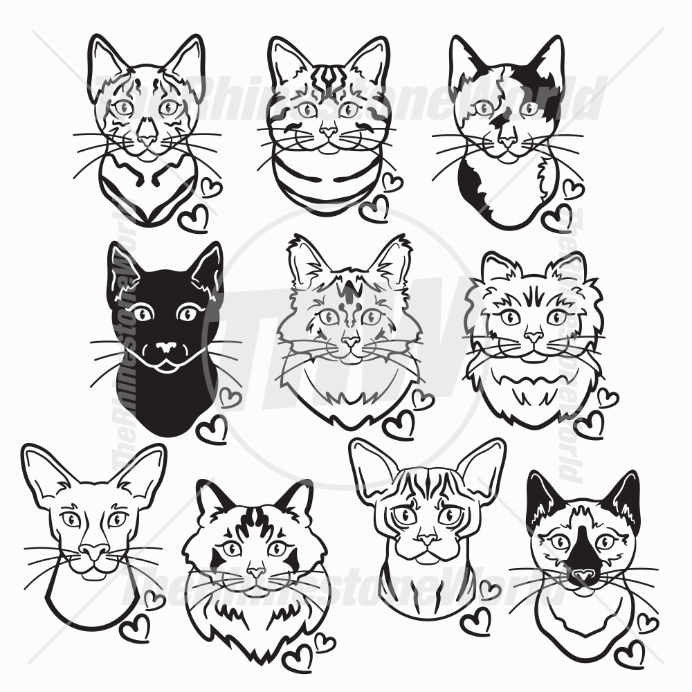 Cat Head Decal Mini Pack 1