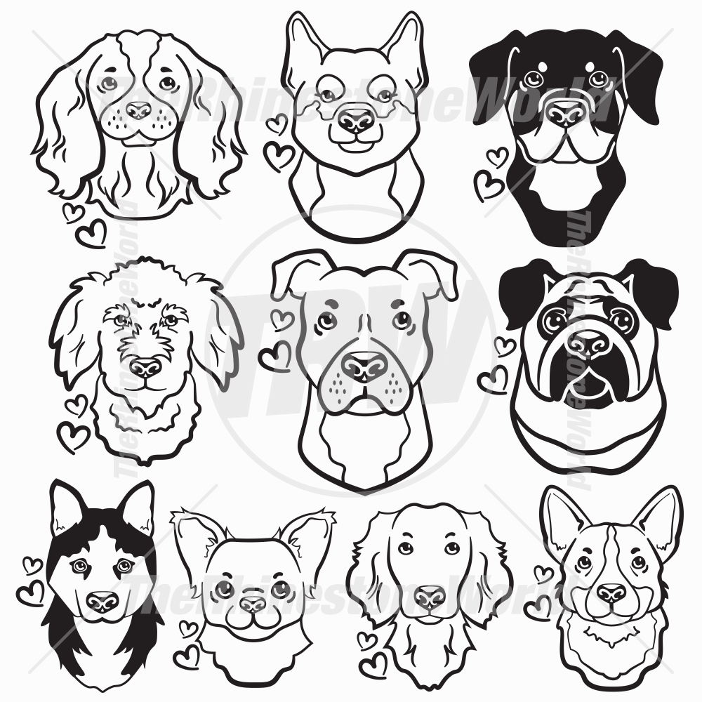 Dog Head Decal Mini Pack 2