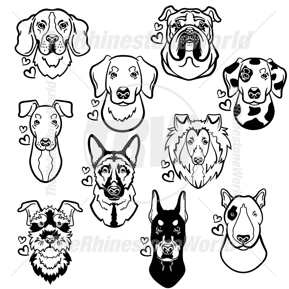Dog Head Decal Mini Pack 1