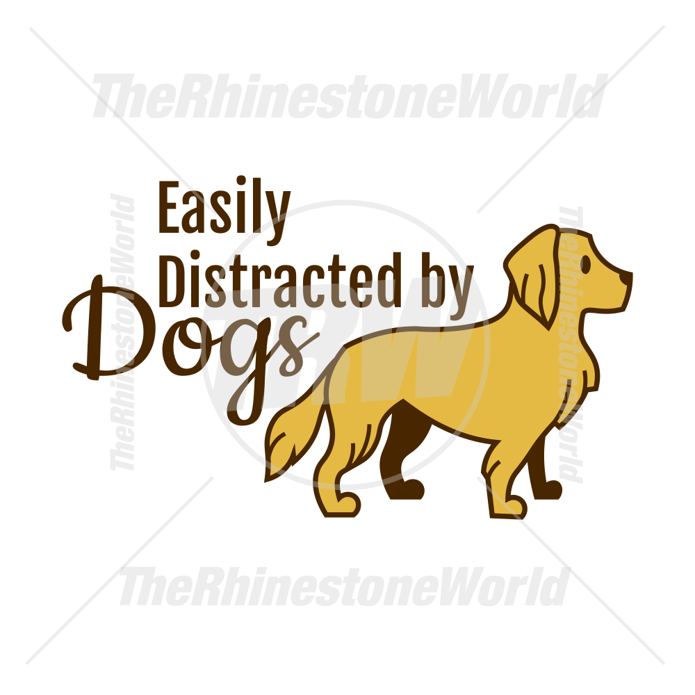 Crafts and More! Easily Distracted by Dogs Decal for Mugs