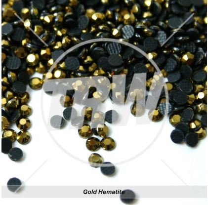Hot-Fix Gold Hematite SS10 Rhinestones 25-Gross