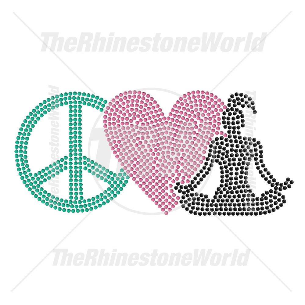 Peace Love Yoga 47 Rhinestone Design - Download