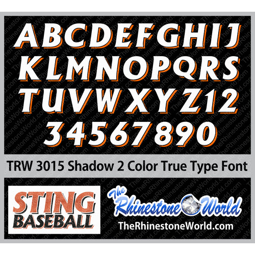 TRW 3015 Shadow 2 Color HTV TTF True Type Font Heat Transfer - Download