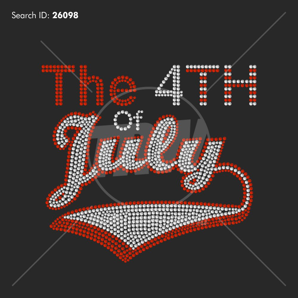 4th Of July Banner Rhinestone Design - Download