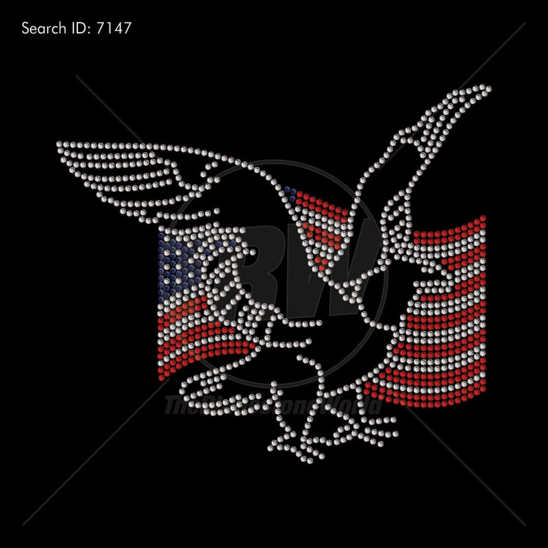 American Flag Eagle Rhinestone Design - Pre-Cut Template