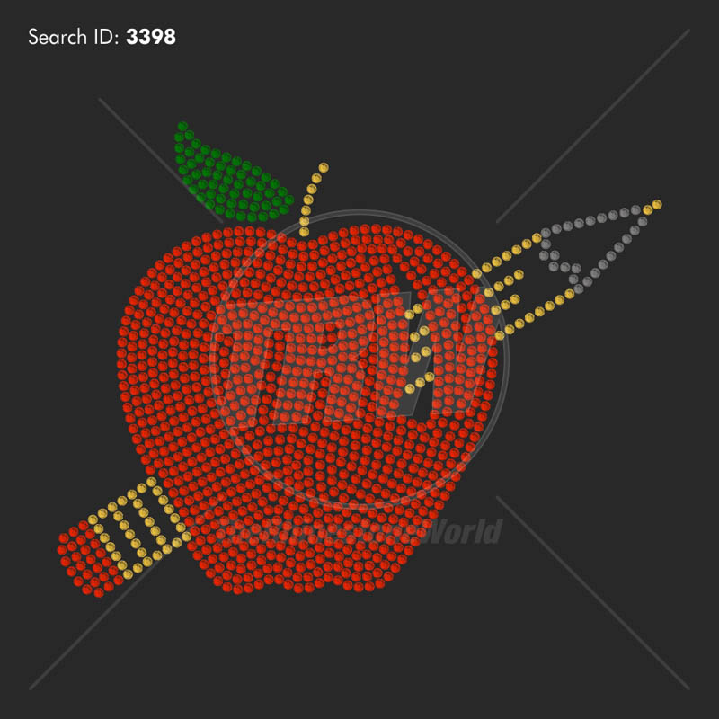 Apple with Pencil Rhinestone Design Download Pack - Download