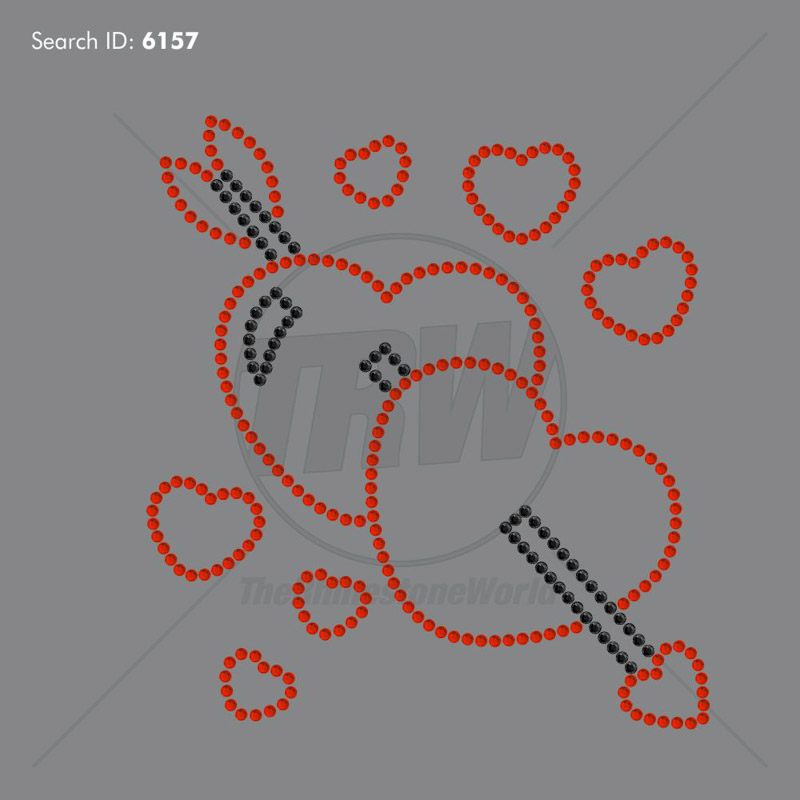 Arrow and Hearts Rhinestone Design - Download