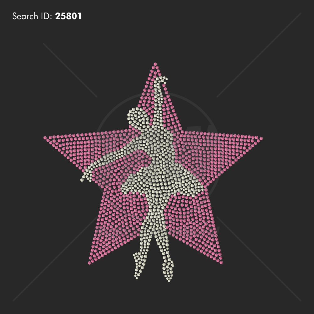 Ballet Star Rhinestone Design - Pre-Cut Template