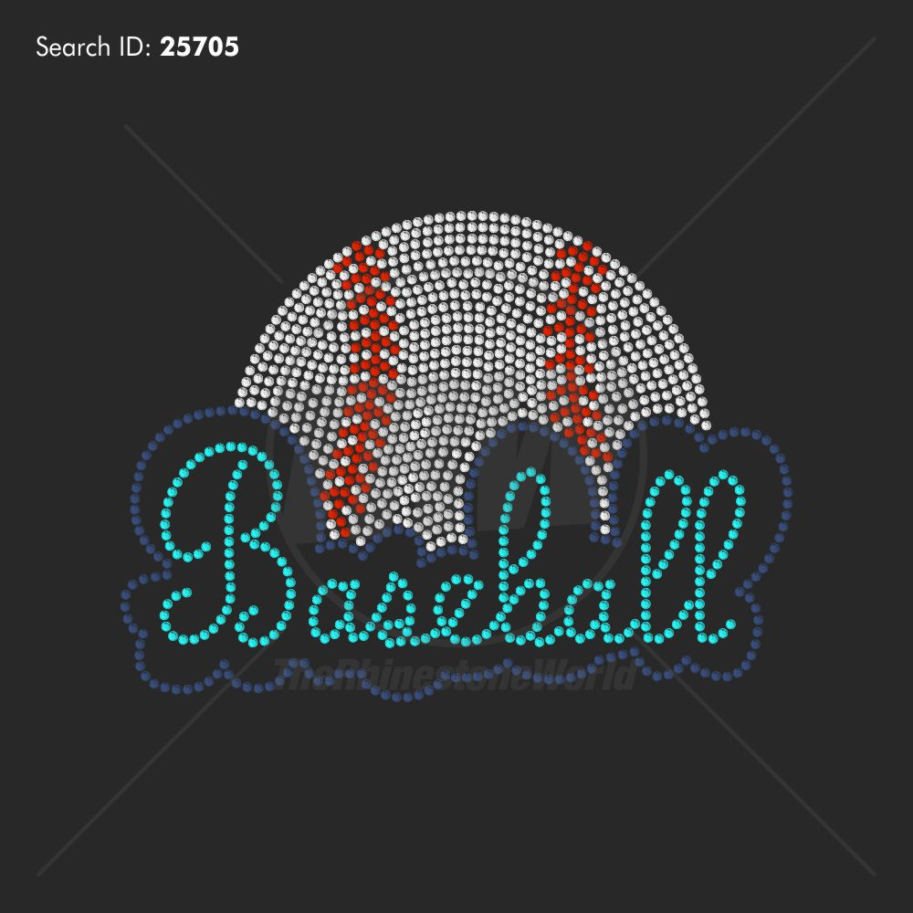 Baseball Bubble Rhinestone Design - Download