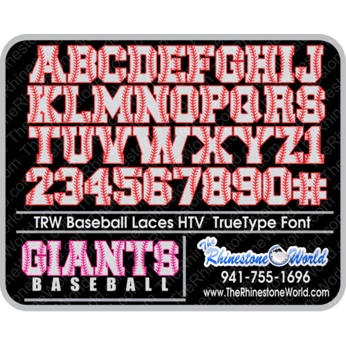TRW Baseball Laces HTV TTF True Type Font Heat Transfer Viny - Download