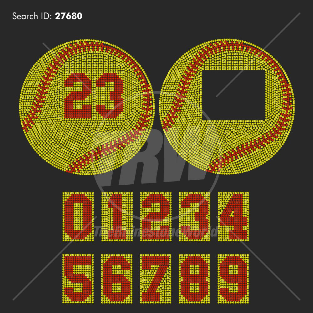 Baseball Softball And Numbers Rhinestone Design - Pre-Cut Template