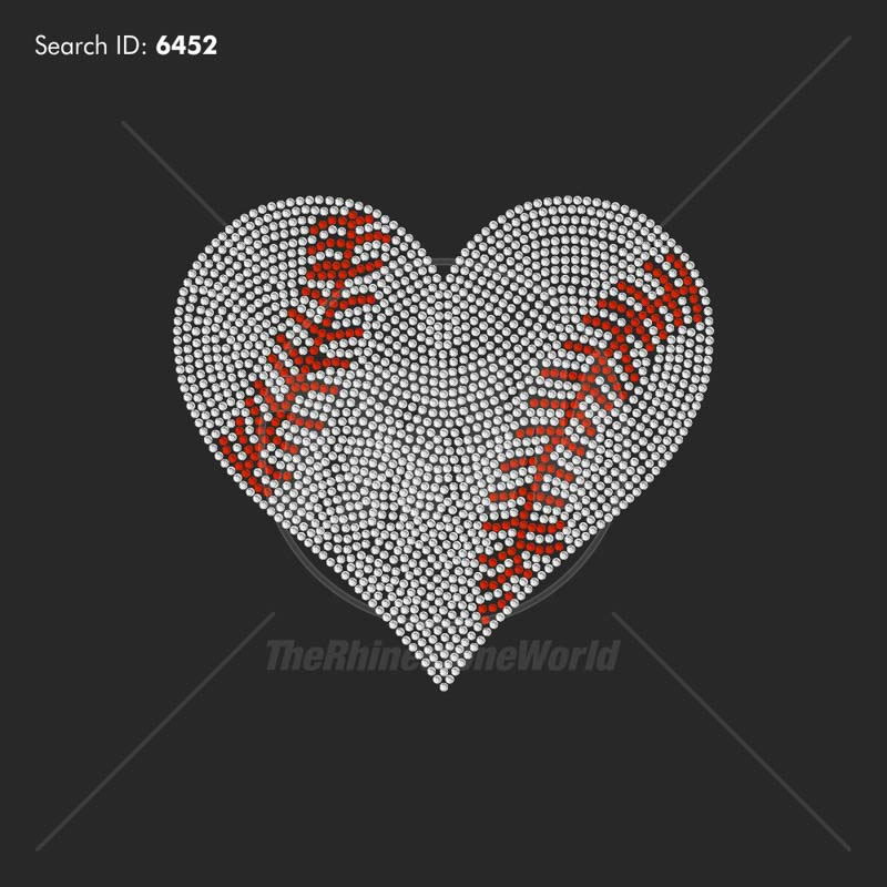 Baseball Softball Heart 2 Rhinestone Design - Pre-Cut Template