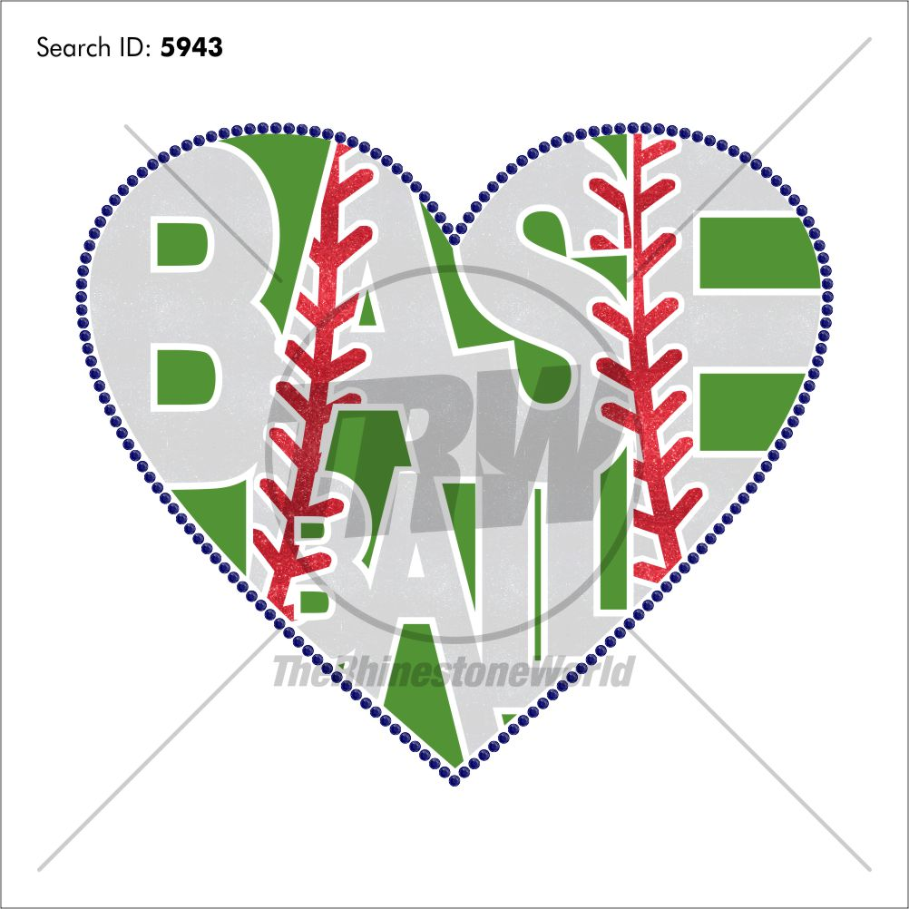 Baseball Word Hearts Multi-Dec Design - Download