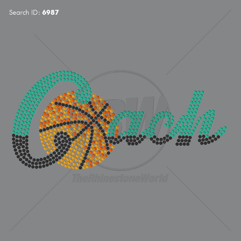 Basketball Coach Shadow Rhinestone Design - Download