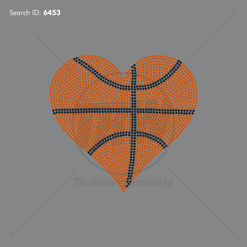 Basketball Heart 3 Rhinestone Design - Pre-Cut Template