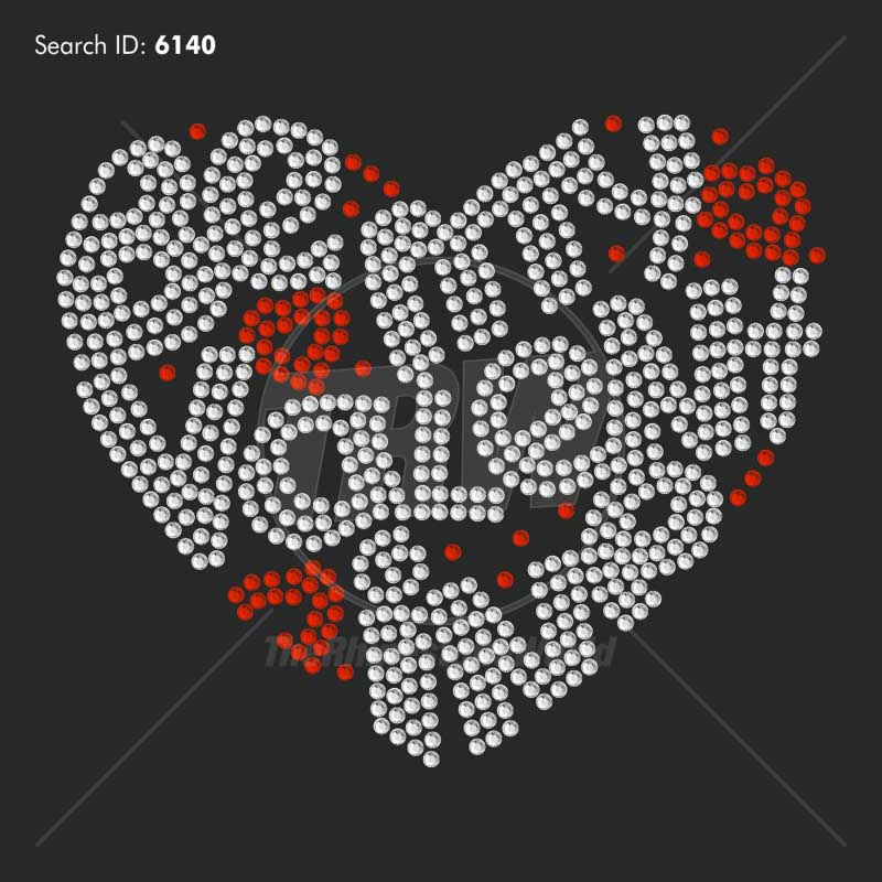 Be My Valentine Heart Rhinestone Design - Pre-Cut Template