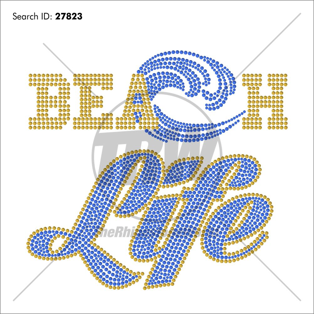 Beach Life Rhinestone Design - Pre-Cut Template