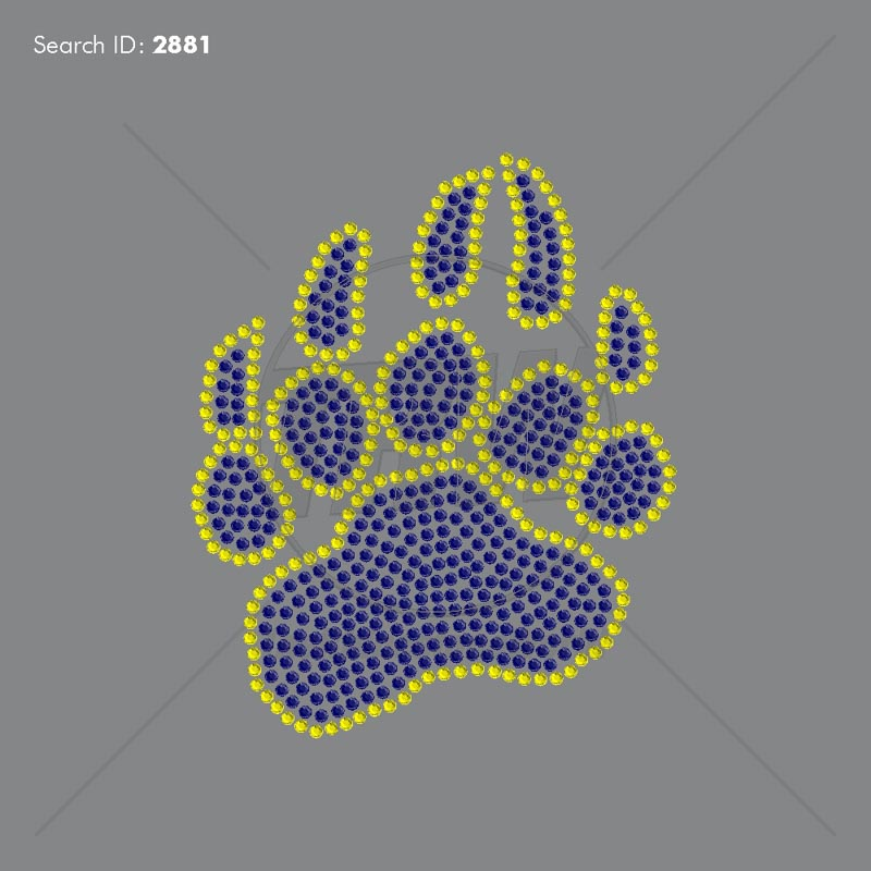Bear Paw 2 Rhinestone Design - Pre-Cut Template