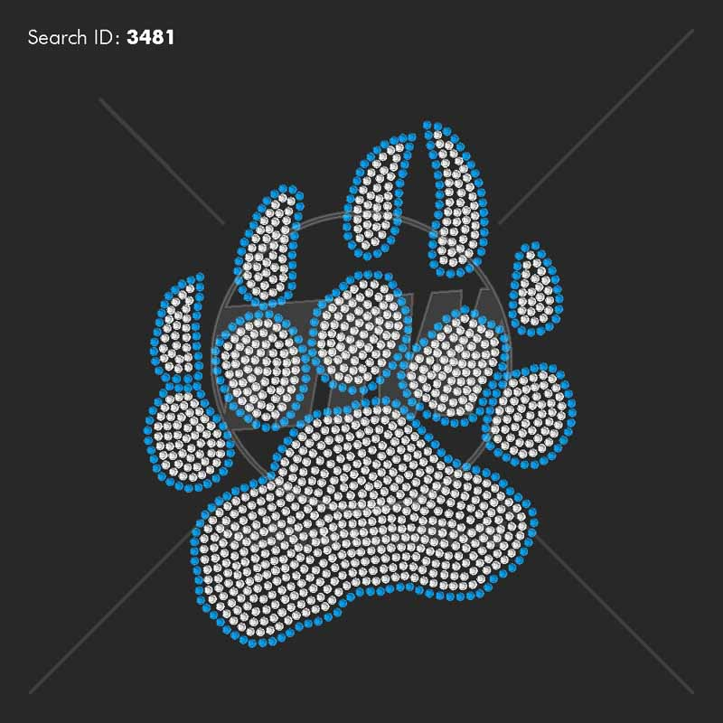 Bear Paw Rhinestone Design - Pre-Cut Template