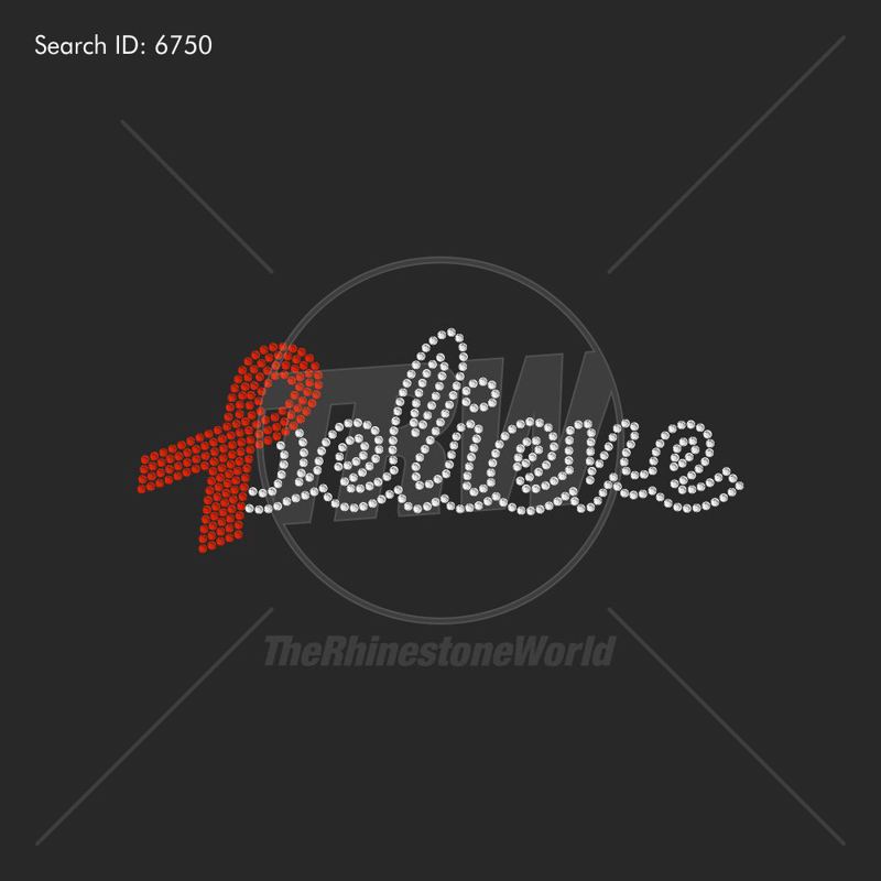 Believe Ribbon Rhinestone Design - Download