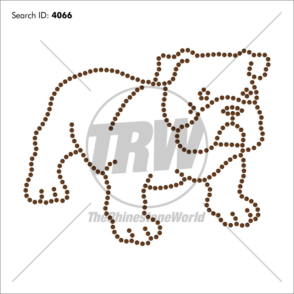 Bulldog 6 Rhinestone Design - Pre-Cut Template