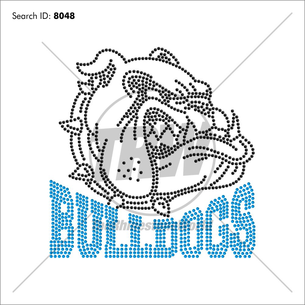 Bulldogs 55 Rhinestone Design - Pre-Cut Template