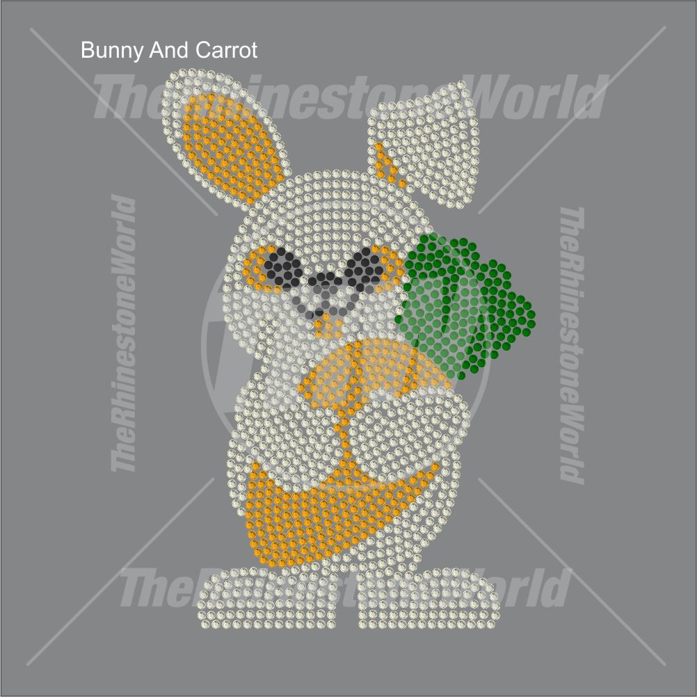 Bunny And Carrot Rhinestone Design - Pre-Cut Template