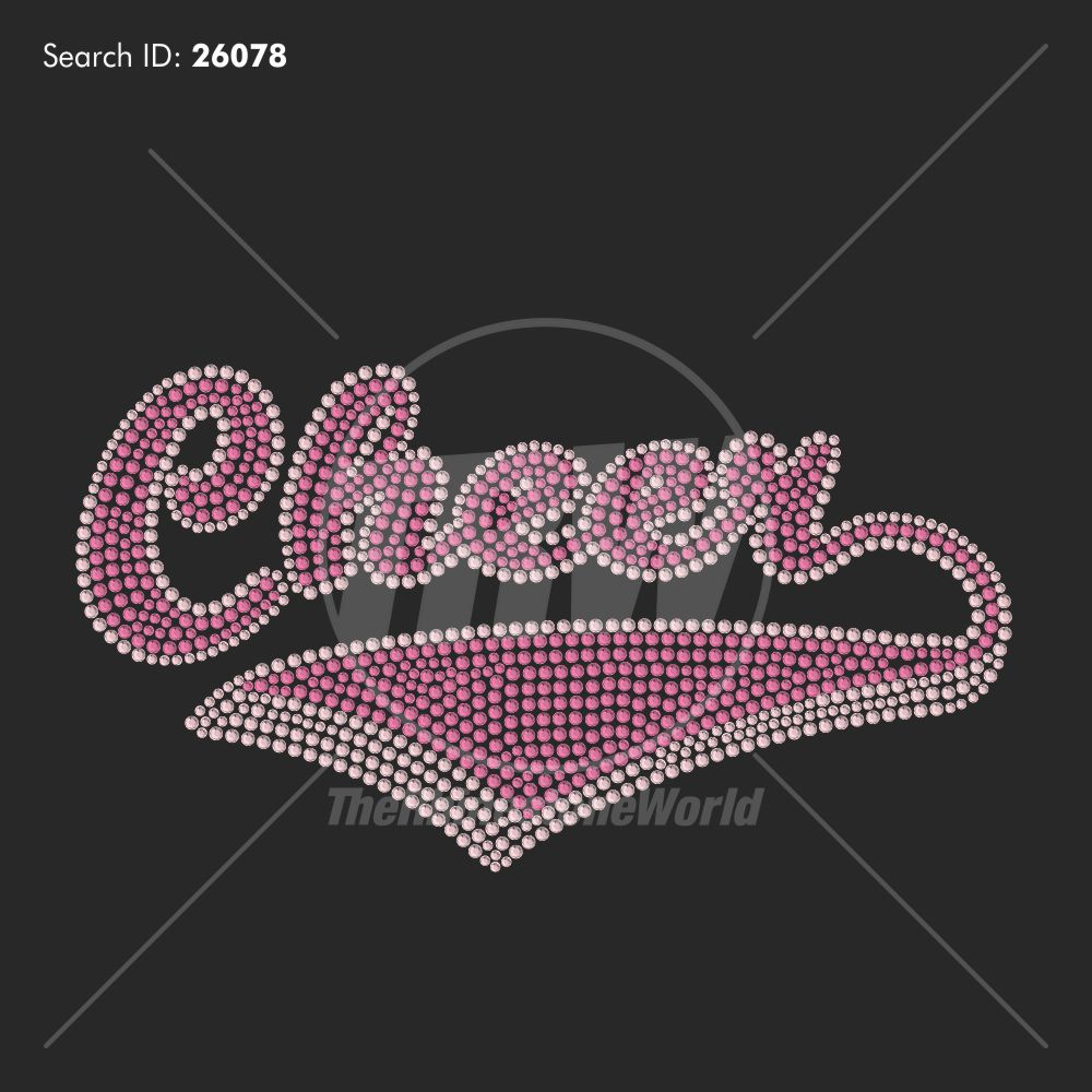 Cheer Banner 3 Rhinestone Design - Pre-Cut Template