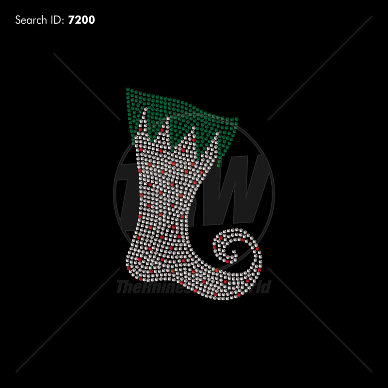 Christmas Stocking 33 Rhinestone Design - Pre-Cut Template