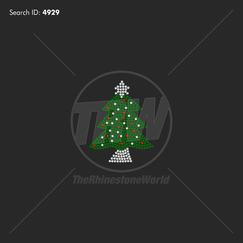Christmas Tree 2 Rhinestone Design - Pre-Cut Template