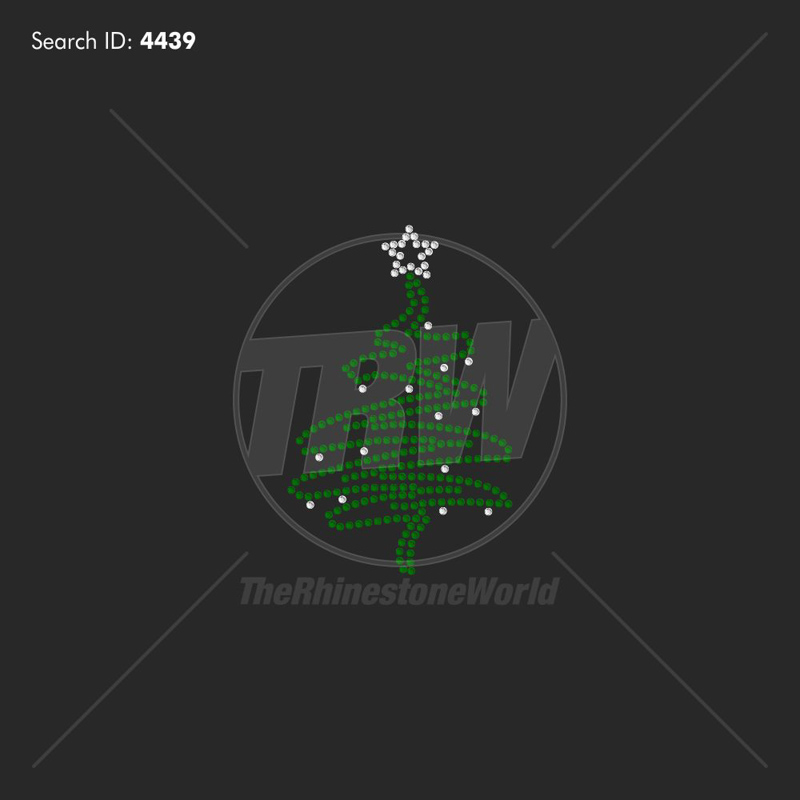 Christmas Tree Rhinestone Design - Pre-Cut Template