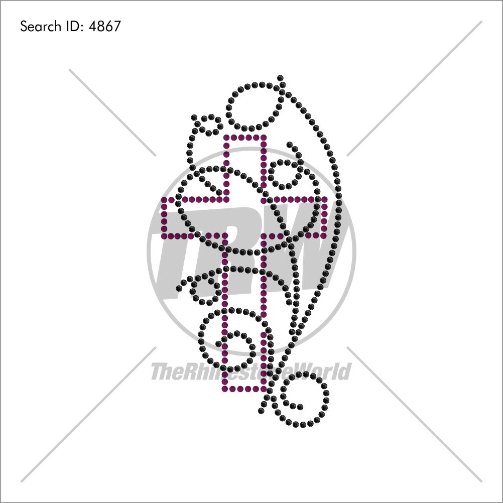 Cross and Vines Rhinestone Design - Download