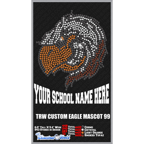 Eagle 99 Mascot Rhinestone Design - Pre-Cut Template
