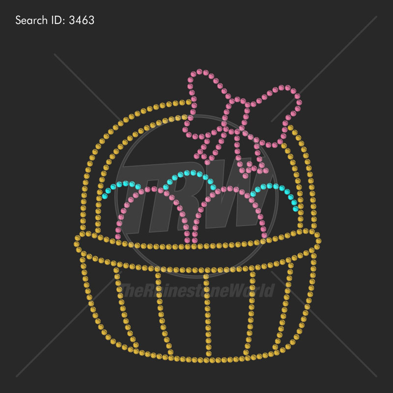 Easter Basket Rhinestone Design - Pre-Cut Template