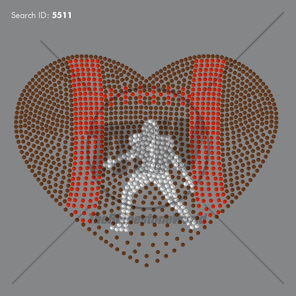 Faded Football Heart Rhinestone Design - Download