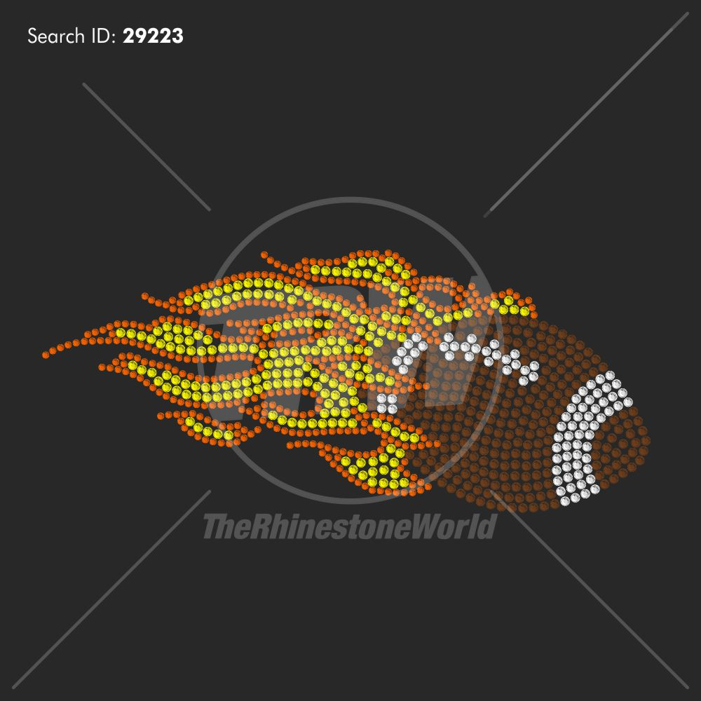 Flaming Football Rhinestone Design - Download