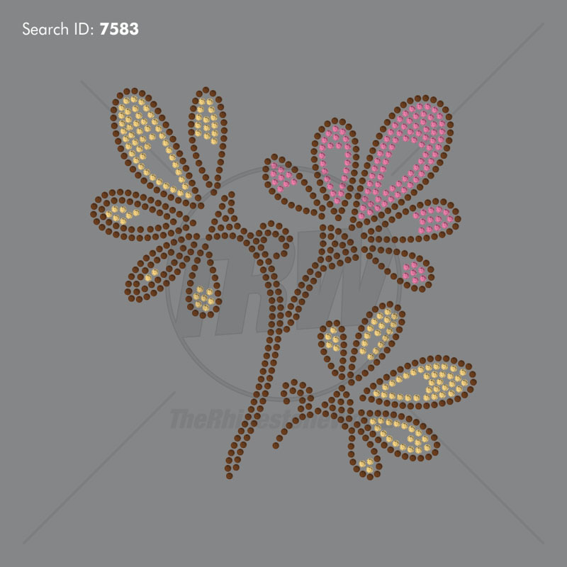 Flower 7 Rhinestone Design - Pre-Cut Template