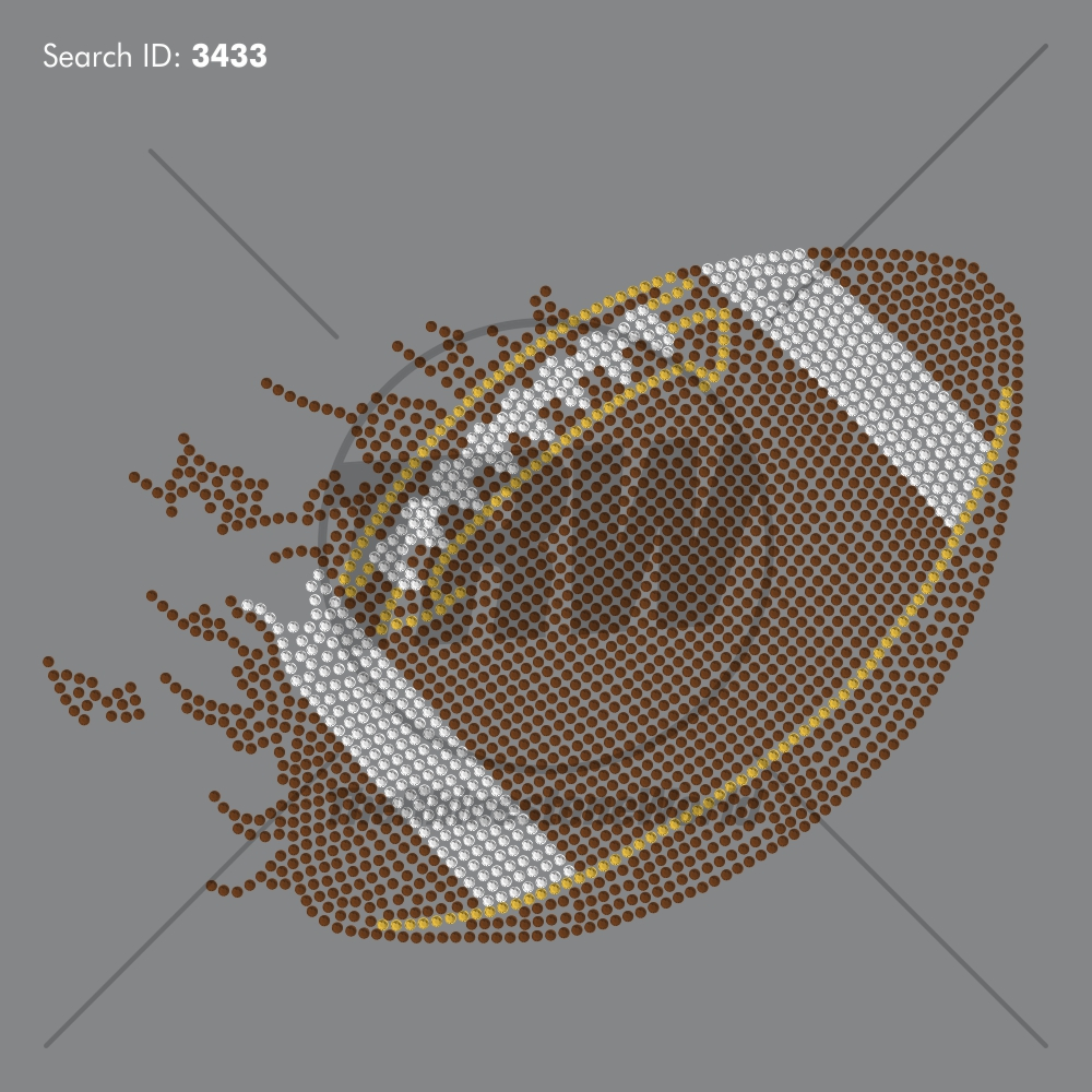 Football Flame 55 Rhinestone Design - Pre-Cut Template