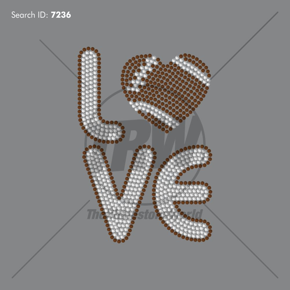 Football Love Squared Rhinestone Design - Download