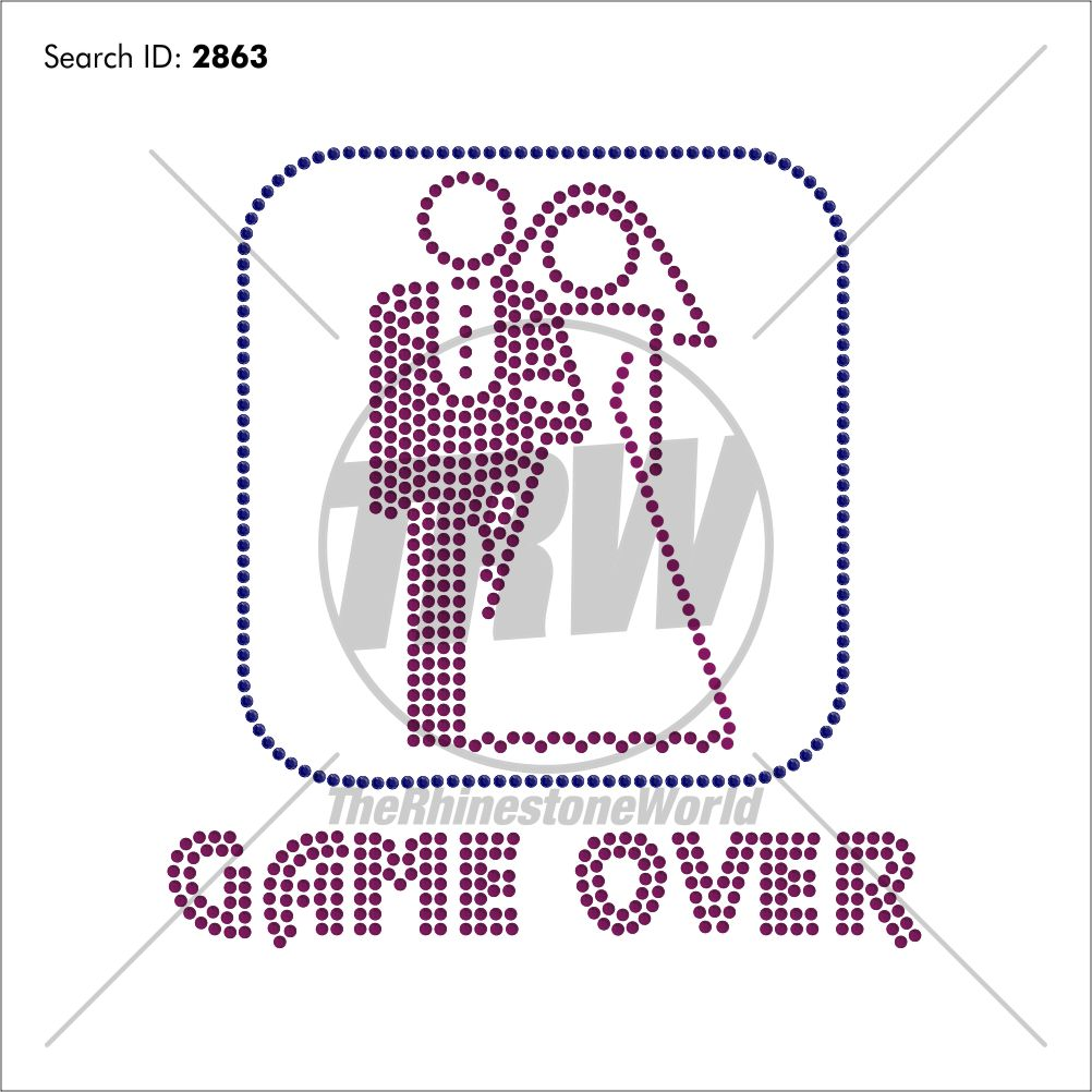 Game Over Rhinestone Design - Download