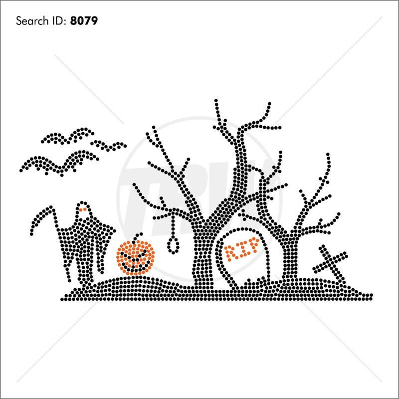 Grave Yard Halloween Rhinestone Design - Pre-Cut Template