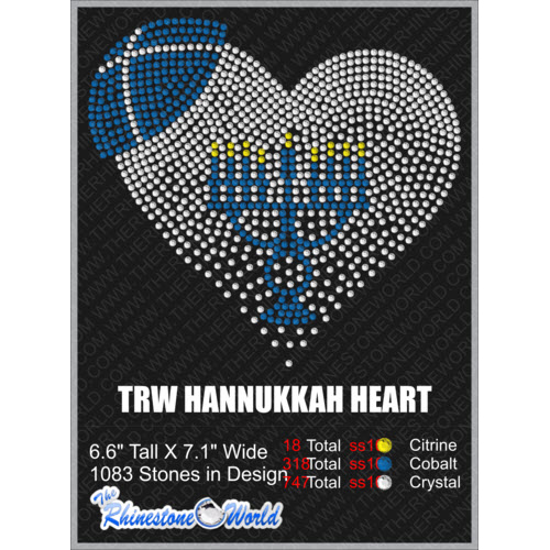 HANNUKKAH HEART Rhinestone Design - Download