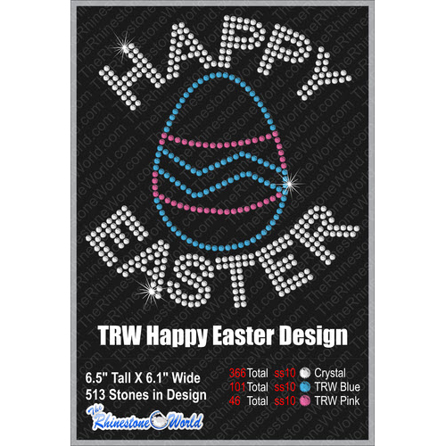 Happy Easter 2 Rhinestone Design - Pre-Cut Template
