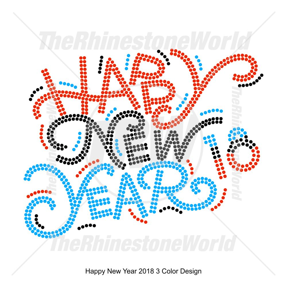 happy new year 2018 3 color design pre cut template