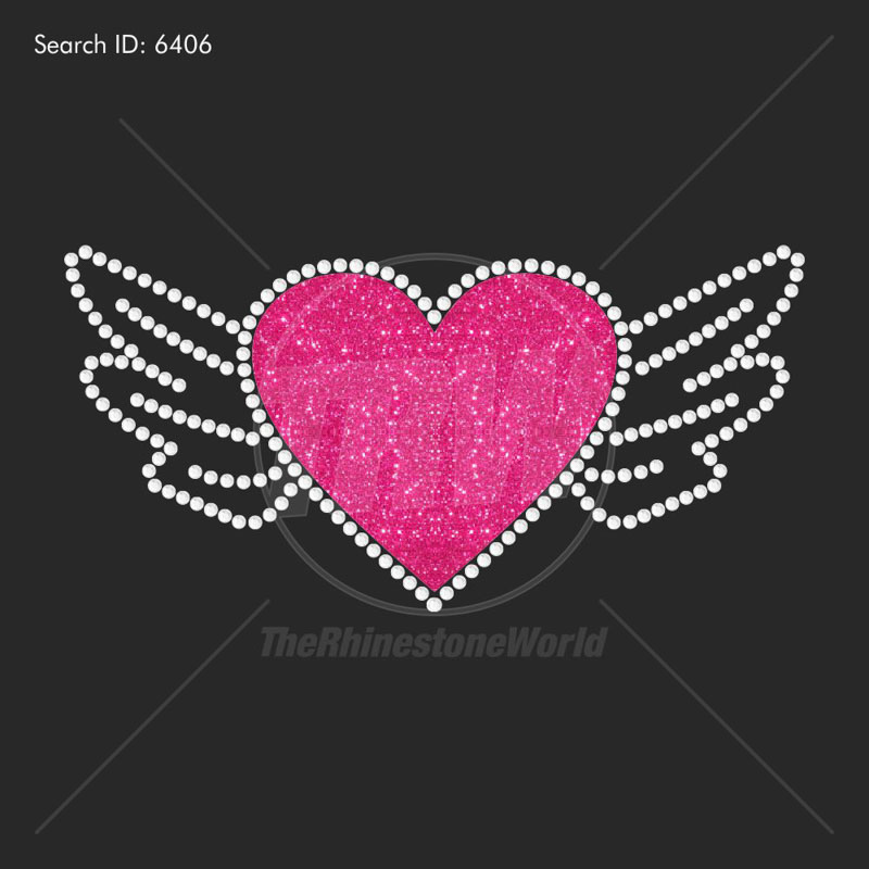 Heart With Wings Rhinestone Design - Download