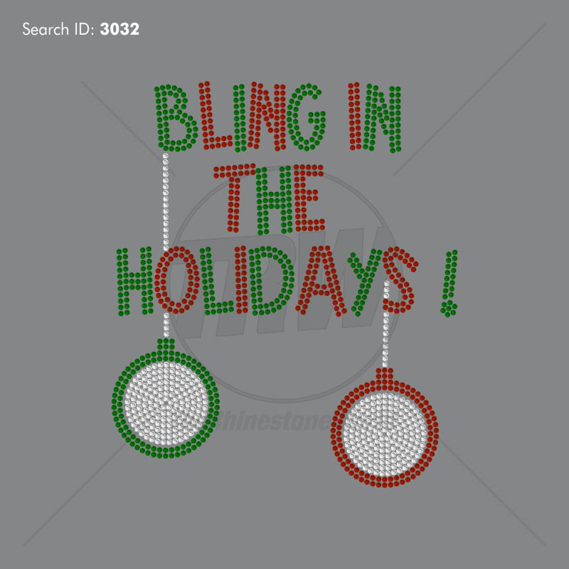 Holiday Bling Rhinestone Design - Pre-Cut Template