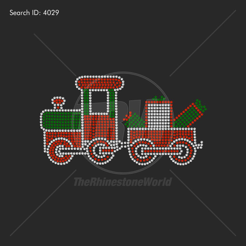 Holiday Train Rhinestone Design - Pre-Cut Template