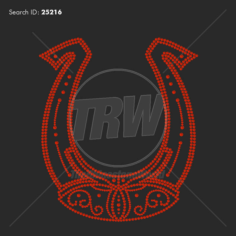 Horse Shoe 303 Rhinestone Design - Pre-Cut Template