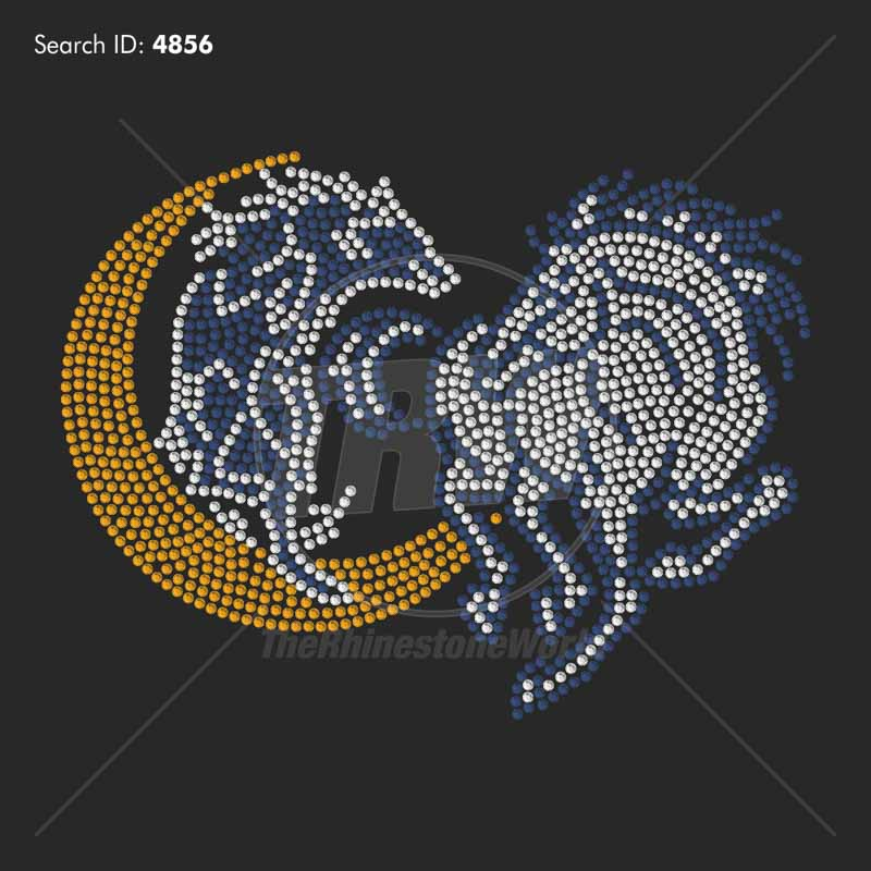 Horse and Wolf Heart 33 Rhinestone Design - Download